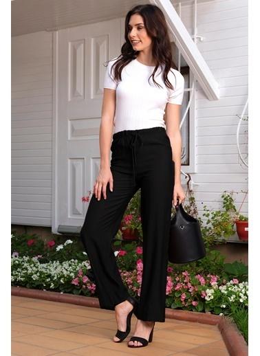 İroni Geniş Paçalı Viskon Keten Pantolon Siyah